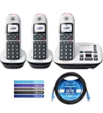 Motorola CD5013 DECT 6.0 Cordless Phone with Digital Answering Machine, Call Block, and 10dB Amplification (3-Pack) Bundle with Blucoil 10-FT 1 Gbps Cat5e Cable, and Reusable Cable Ties (5-Pack)