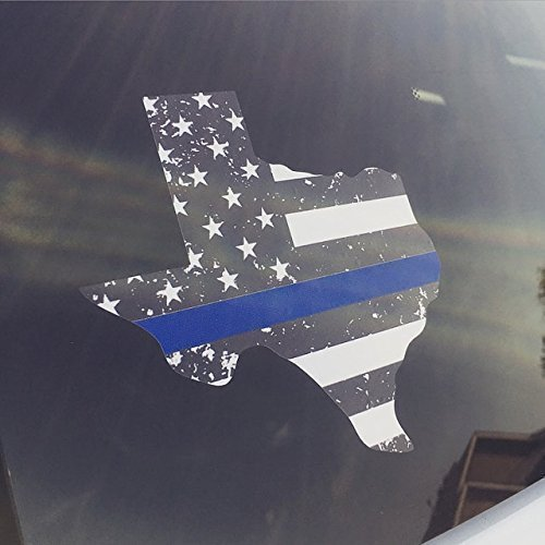 Back The Blue decal - Thin Blue Line - TEXAS - State shaped decal