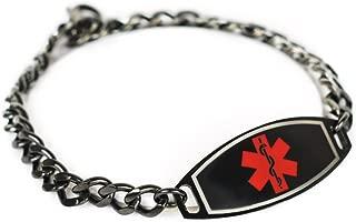 Custom Engraved Medical Alert Bracelet 316L Steel, Black 5mm