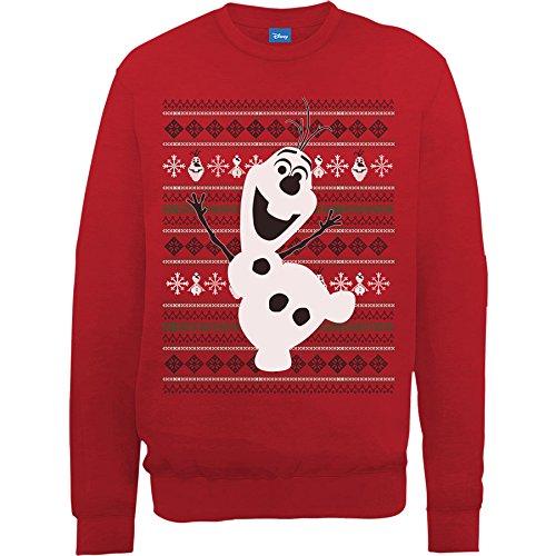 Disney Frozen Christmas Olaf Dance Felpa, Rosso, XXL Donna