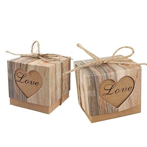 MINGZE Caja de regalo de dulces de 50 piezas Caja de papel de Kraft retro + Cuerda de yute de 50 piezas, Bolsa de regalo para la fiesta de bodas de cumpleaños
