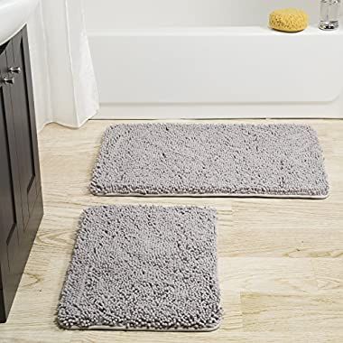 Lavish Home 2 Piece Memory Foam Shag Bath Mat -Grey