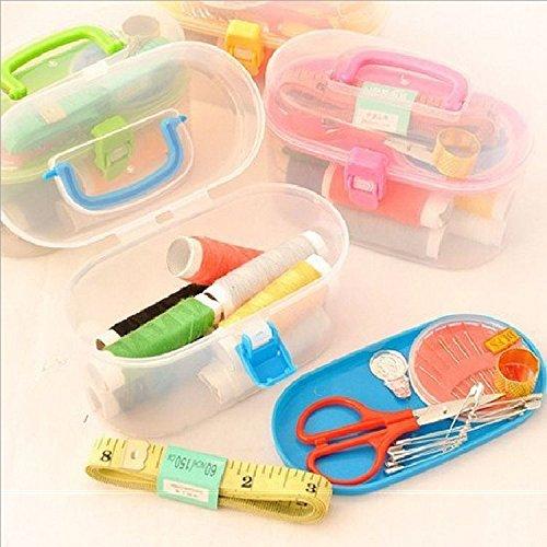 Portátil 1 sistema de herramienta de costura Paquete Kit Set del hilo de coser enhebrador la cinta métrica de tijera con dedal de costura Caja de almacenamiento de accesorios para herramientas