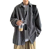 YangYang メンズジャケット 羽織 コーデュロイ シャツ ジャケット ジャケット アウター メンズ ア ウター (L,グレー)