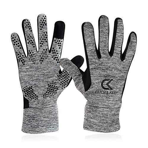 CATCH & KEEP Handschuhe – Trainingshandschuhe für Jede Sportart – wärmende Laufhandschuhe mit Smart-Touch-Funktion – Sporthandschuhe für Herren, Damen und Kinder (Grau, 6)