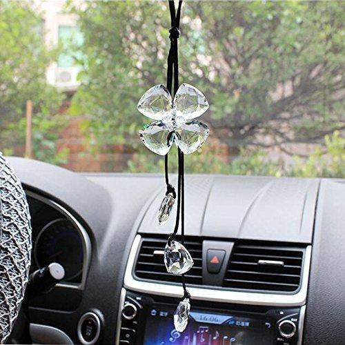Cogeek Trèfle à quatre feuilles en cristal Accessoires Intérieur de voiture Breloques Pendentifs pour Rétroviseur auto Décoration à suspendre