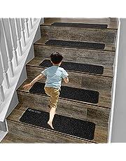 Alfombrillas antideslizantes de madera de 20,3 x 76,2 cm para interiores y escaleras de madera, antideslizantes, reutilizables, autoadhesivas, almohadillas de seguridad para niños y mascotas (gris, 7)