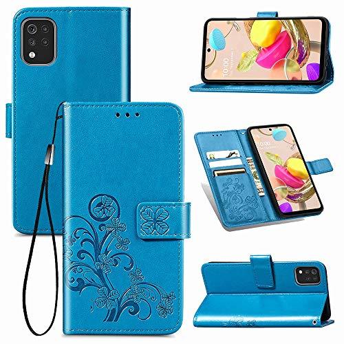 Puamru-M Para LG K42, Lucky Clover Embossment Leather Wallet Case Case Fuerte Cierre Magnético Flip Folio Funda con Soporte y Ranuras para Tarjetas Rojo 0105-T (Color: Azul)