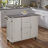 Patriot White Kitchen Cart with Stainless Steel Top by Home...