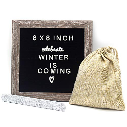 Muga Changeable Letter Board 8x8 inches, Felt Board Include 183 White Plastic Letters, Wooden Message Board Sign, Free Canvas Bag, Perfect Gifts