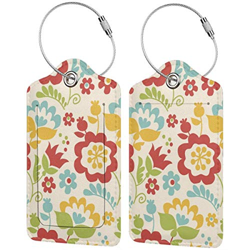 Tulips Personalized Leather Luxury Suitcase Tag Set Travel Accessories Luggage Tags