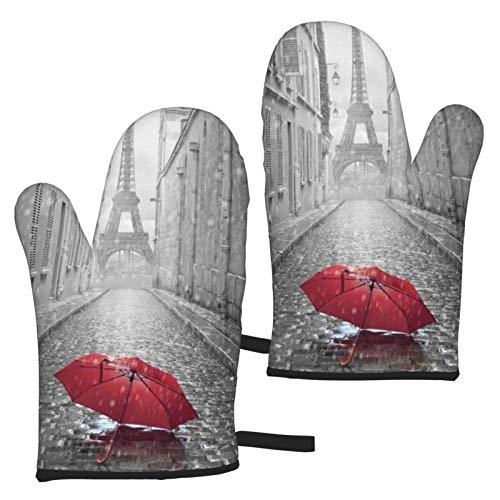 ZGPOJNDKI Sombrilla roja impermeable en la lluvia, guantes de horno antideslizantes resistentes al calor, juegos de 2 para cocina, hornear, parrilla, barbacoa, decoración del hogar