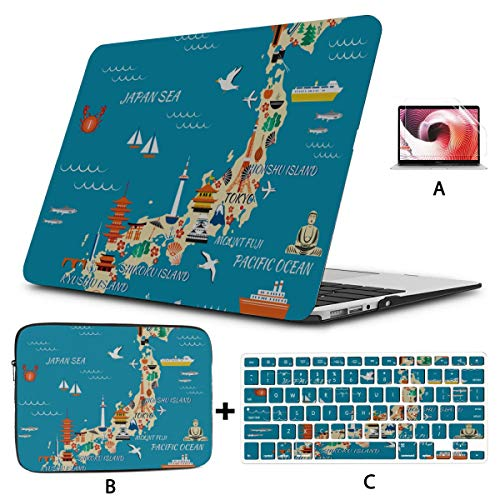 Laptop Pro Accessories Collection With National Landmarks And Symbols Map Laptop 13 Inch Case Hard Shell Mac Air 11'/13' Pro 13'/15'/16' With Notebook Sleeve Bag For Macbook 2008-2020 Version