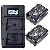 Juego de Cargador de Batería Palo NP-FW50 para Sony a7, a7 II, a7R, a7R II, a7S, a7S II, A600, A6500, A6300, A55, A5100 (2-Pack 2000mAh, Micro USB Input Charger, Versatile Charging Option) Cargador