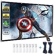 """Powerextra Écran Projection 120"""" 16: 9 HD Pliable Anti-pli Portable Lavable écran de Projection pour Home Cinema Réunion Colloque Représentation Commercial"""