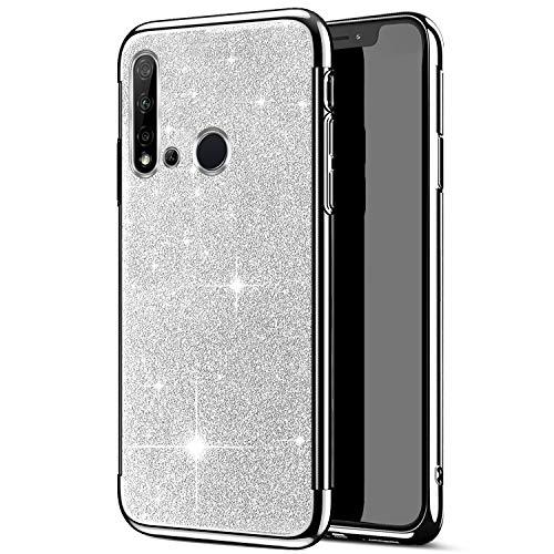 Robinsoni Cover Compatibile con Huawei Nova 5i Custodia Flessibile Huawei P20 Lite 2019 Cover Silicone TPU Brillante Glitters Cover Luminosa 360 Gradi Custodia Gomma Ultra Morbido Cover,Argento