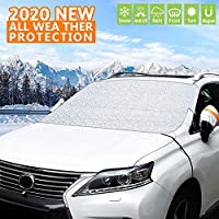フロントガラス雪カバー 車のフロントガラス用雪カバー フロントガラス用氷カバー プロテクター 防水 車のフロントガラス用サンシェード フックとストラップ付き ほとんどの車、SUV、トラック、バンにフィット