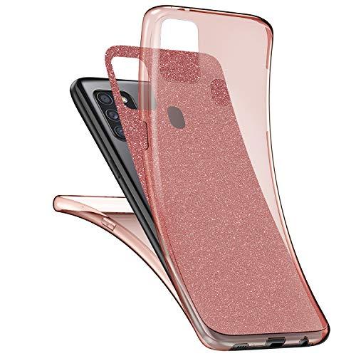 Glitzer Hülle Kompatibel mit Samsung Galaxy A21S Hülle,360 Grad Full Body Glänzend Glitzer Bling Durchsichtige TPU Silikon Hülle Handyhülle Tasche Schutzhülle Case für Galaxy A21S,Rose Gold