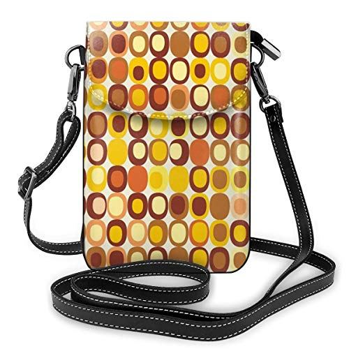 Women Small Cell Phone Purse Crossbody,Kitsch And Retro Styled Round Edged Square Pattern In Old Earth Tones