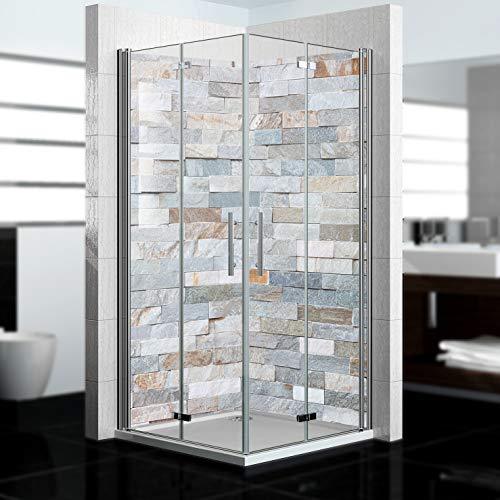 dedeco Eck-Duschrückwand wasserfest Motiv: Stein V4, 2 x 90x200 cm, als Badrückwand zum Fliesenersatz, als Dekorwand, Wandverkleidung und Duschplatte aus Aluminium - Made in Germany