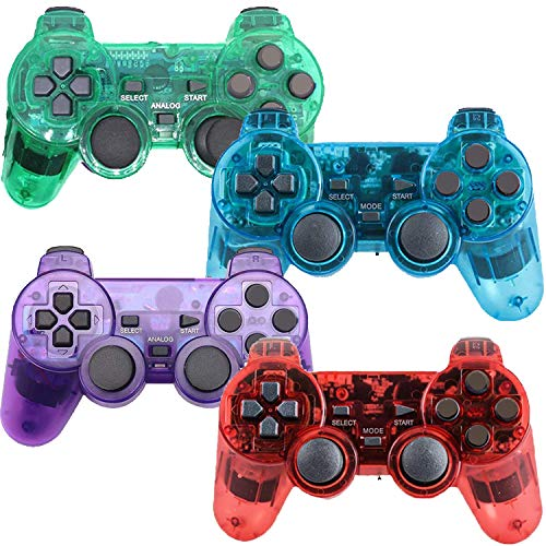 Wireless Controller for PS2 Playstation 2 Dual Shock(Pack of 4,Blue,Purple,Red,Green)