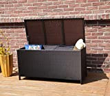 BIRCHTREE Garden Furniture Rattan Storage Box Lid Woven Chest Basket Large Patio Outdoor Trunk Organiser Unit PE RSB01 Brown