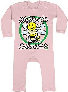 HARIZ HARIZ Baby Strampler Weltbeste Grosse Schwester Biene Baby Kinder Inkl. Geschenk Karte Zuckerwatte Rosa 3-6 Monate