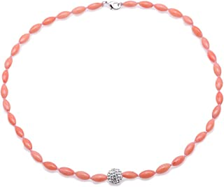 JYX Coral Necklace 5-5.5mm Single-strand Rice-shaped Pink Coral Necklace Jewelry with Czech Rhinestone Pendant 18
