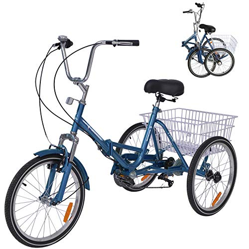 MOPHOTO Adult Folding Bike Tricycle 7 Speed 20 Inch Three Wheel Bike Cruiser Trike with Low-Step Through Frame/Large Basket/Adjustable Seat (Cool Blue, 20' Folding 7-Speed)