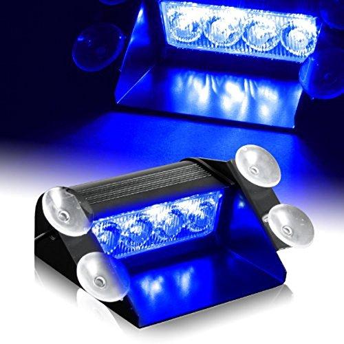 Lámpara estroboscópica con 4 luces LED, de Anzene, 12 V, 4 W, luz de emergencia de precaución