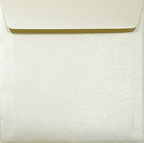 100 Perlmutt-Creme quadratische Briefumschläge nassklebend 120g 156x156mm Majestic Candelight Cream glänzende Umschläge hochwertig in Creme elegante Briefkuverts quadratisch für festliche Anlässe