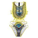 SHOBDW Mujer Africano de impresión Vintage Estilo étnico Bikini Conjunto de Traje de baño Push-up Sujetador Acolchado Beachwear (Amarillo, XL)