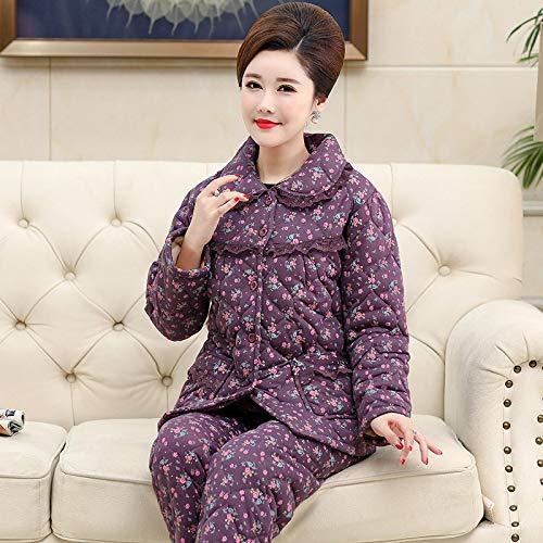 DFDLNL Conjunto de Pijamas Acolchados de 3 Capas para Mujer, Collares de Cobertura de Flores pequeñas, Ropa de hogar de algodón de Punto Grueso, Ropa Informal púrpura L.