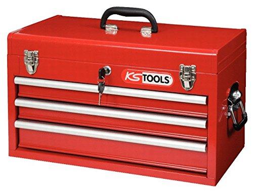 KS Tools 891.0003 - Coffre à outils vide avec 3 tiroirs ( 911.0100 ) - Glissières à roulements à bille - Tiroirs complètement retirable - En Tôle d'acier - Rouge