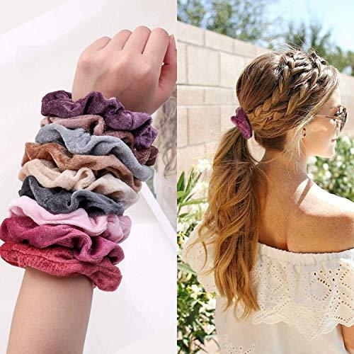 Hair Scrunchies Velvet Silk Chiffron Flower Hair Scrunchies for Women or Girls Hair Accessories |30Velvet Hair Scrunchies+20Satin Hair Scrunchies+16 Chiffron Flower Scrunchies 2