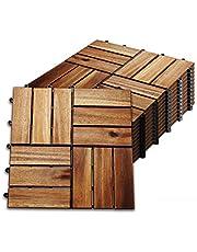 Hengda stuks Houten Tegels Terrastegels Kliktegels ca. 1qm acaciahout FSC®-Gecertificeerd Tegels