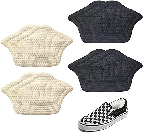 4 Pairs Coussinets de Coussin de Talons Coussinets Inserts de Talons Doublure Auto-Adhésif Semelles de Chaussure Protecteur de Soins des Pieds Empêche Frottements et Ampoules (Beige & Noir)