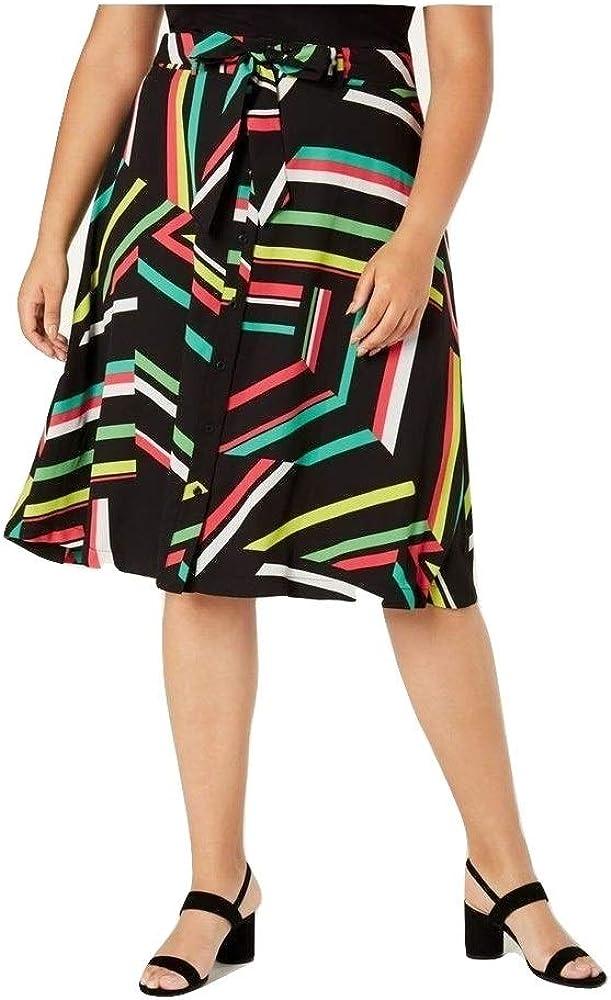 Bar III Womens Plus A-Line Striped Skirt