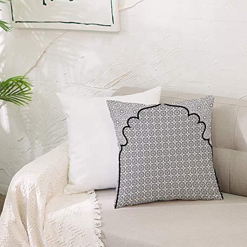 Fundas de cojín para con Cremallera Invisible PoliésterAlmohada Caso de,Conjunto marroquí, fondo de arte árabe con un grupo de for,Dormitorio o Coche Decorativas Fundas Cojines 19 x 19inch 50 x 50cm