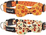 KOOLTAIL Dog Collar 2 Packs Thanksgiving Day - Dog Bow Tie Collars Adjustable Quick Release Festival Print Collars Soft for Small Medium Large Dogs