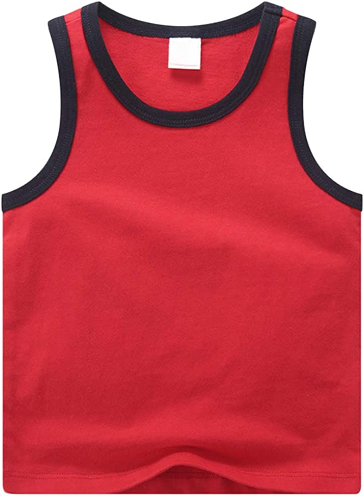 BIUXIAOBAI Little Boys Bright Solid Vest Sleeveless Shirts Kids Tank Tops