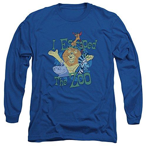 Madagascar - - T-shirt manches longues Echappé pour hommes, Medium, Royal Blue