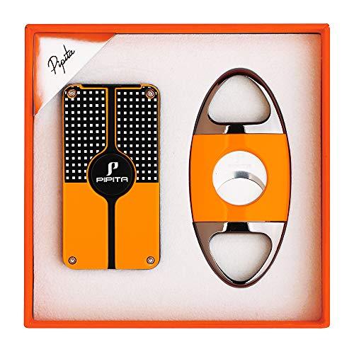 【高い品質】PIPITA 葉巻 ライター 充填式 用品 シガーツール ギフトセット(シガー ライターx1シガーカッターx1)携帯便利セット直噴ターボ ジェットライター(ガスなし) (黒い)