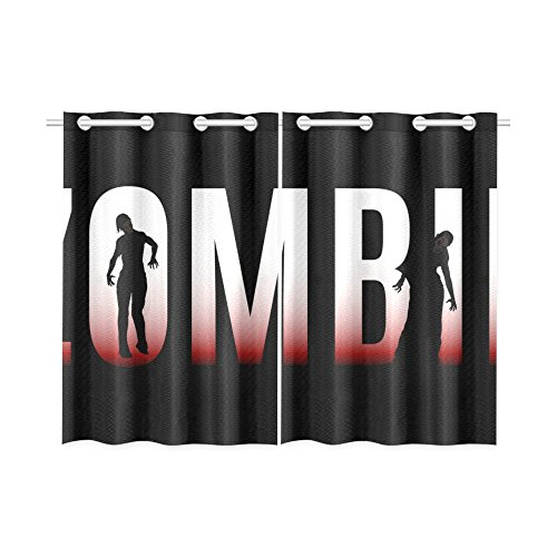 Blackout Window Curtains Zombie Walking Dead Room Bedroom Kitchen Home Living Solid Grommet Window Short Drapes Curtains 52X39 Inch