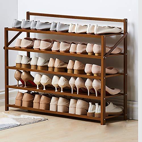 Plegable Rack De Zapatos De Bambú,5-nivel Portátil Estante De Almacenamiento Multifuncional De Estantes De Zapatos,Organizador De Almacenamiento De Cordones De Zapatos Para El Sopo-Marrón 90x23.8x75cm