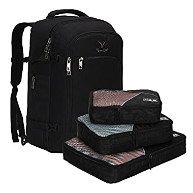 Hynes Eagle Travel Backpack 40L Flight Approved Carry on Backpack, Black with 3PCS Packing Cubes