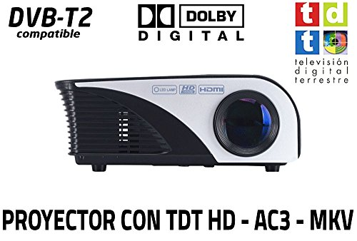 Proyector FULLHD Cine en casa portatil con TDT Unicview SG100 Negro lampara LED de 50.000 Horas Incluye TV TDT, USB, HDMI, VGA, decodificador Dolby Digital AC3