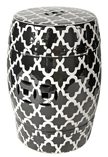 A&B Home Finley Indoor/Outdoor Patterned Stool, Black/White-69634-BLAC, Black