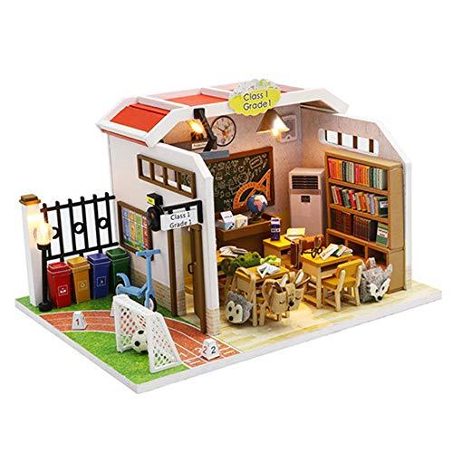 Casa Modelo De Rompecabezas De Madera 3D Diy,Casa De Muñecas En Miniatura,Kits De Manualidades, Regalo Para Niñas,Modelo De Juguete De Rompecabezas(Aula)
