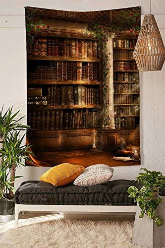 IZOU Zauberhafte Burg Bücher auf Bücherregal mit Hexenbesen Wandteppich Wald Baum Tapisserie Natur Landschaft Tapisserie Wandbehang für Zimmer (203,2 x 152,4 cm)